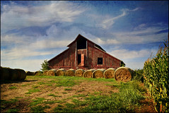 Red Barn with Bales (keeva999) Tags: summer painterly texture rural nikon farm country barns iowa bales frenchkiss roundbales distressedjewell d3100