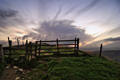 Stile. (sidibousaid60) Tags: uk sunset sky clouds fence twilight dusk derbyshire peakdistrict shade stile rushupedge