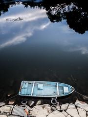 PhoTones Works #8016 (TAKUMA KIMURA) Tags: photones olympus air a01 takuma kimura   landscape scenery natural river setting sun dusk japan okayama summer mountain boat ship
