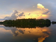 Evening clouds after rain (yooperann) Tags: east bass lake upper peninsula michigan sky clouds panorama dramatic reflections