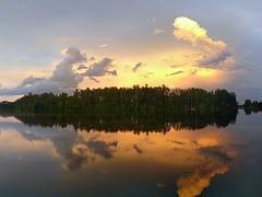 Evening clouds after rain (yooperann) Tags: east bass lake upper peninsula michigan sky clouds panorama dramatic reflections