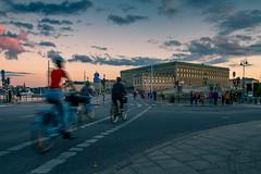 Stockholm (mikper) Tags: castle bicycle slottet bikers strmbron street slott cyklist evening royal kvll summer palace motion twilight skymning stockholm late sverige cykel clouds schweden sweden stockholmsln se