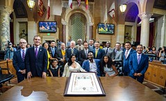 Mayor Garcetti and Kobe Bryant declaring August 24th Kobe Bryant Day in Los Angeles (Mayor of Los Angeles) Tags: losangeles california usa 08242016 councilmeeting 200nspringstreet losangelescityhall laciviccenter downtownla kobebryanday