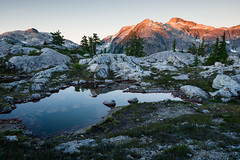 Alpine Tarn (Bryn Tassell) Tags: bc britishcolumbia bryntassell bryntassellca camping canada hiking strathcona thelwood vancouverisland mountains mountain alpine sunset