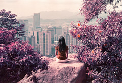 Violet Heights (Hayden_Williams) Tags: girl woman lady person female rock boulder rest hike sit sitting mountain mountains elephantmountain city cityscape skyscrapers buildings view beautiful fromabove above tallbuildings film analog analogue vintage hipster indie retro canonae1 fd50mmf18 lomography lomo lomochromepurplexr100400