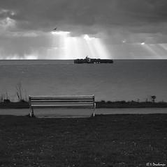Le banc (Isabelle Photographies) Tags: banc bateau paquebot navire traffic havre normandie mer herbe ciel rayon soleil