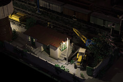 The Train Station at night - the workshop area (Maciej Drwiga) Tags: lego train station