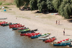 Canoes 2 (m-blacks) Tags: dordogne france perigord canoes limeuil aquitaine limousin villagesdefrance vzre river boat colorful fujifilm fujifilmx30 water riverside canoeing