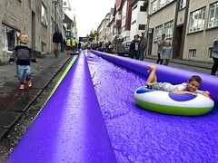 Night of the Marathon is Party Night in Reykjavik. (Jamie McCaffrey) Tags: people 6s 2016 august cellpic culturenight fun iceland iphone kids playing reykjavik smartphonepicture travel waterslide outdoor