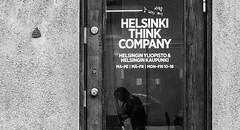 Think! (Sergei M.) Tags: helsinki helsingi think thinking street streets urban blackandwhite black blackwhite blacknwhite door glass people man rodin