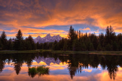 Schwabacher Landing Sunset (Jeremy Duguid) Tags: park trees sunset mountains reflection nature colors clouds canon landscape bravo colours horizon grand jeremy landing national teton tetons 1000 duguid 50d schwabacher tpslandscape jeremyduguid