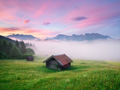 Alpen Glory (mibreit) Tags: sky mist color fog clouds germany bavaria cabin nebel htte grn farbe greengrass karwendel gerold geroldsee