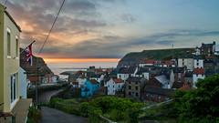 Heading downhill. (paul downing) Tags: summer sunrise nikon harbour unionjack staithes coastaluk pd1001 d7000 pauldowning pauldowningphotography