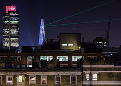 Shard lazers (jimmypipc) Tags: longexposure windows london rooftop canon landscape lights cranes highrise nightshots olympics shard chimneys tower42 lazers aerials