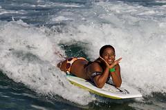 Boogieboarder Smile (coqrico) Tags: ocean sea woman usa girl sport lady female hawaii surf pacific waikiki oahu native body