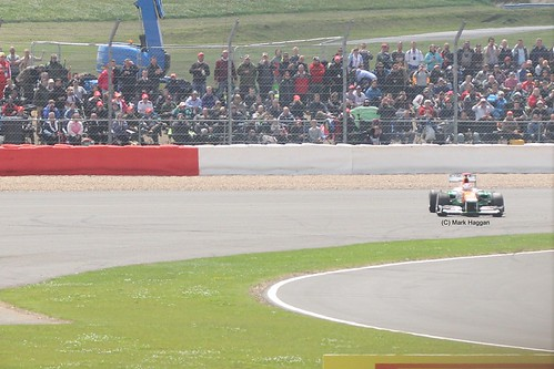 Paul di Resta spins in his Force India F1 car during the 2012 British Grand Prix at Silverstone
