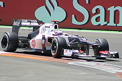Kamui Kobayashi in his Sauber F1 car during the 2012 European Grand Prix in Valencia