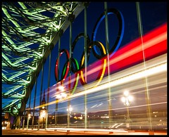 Speed Of Light (Danny Birrell) Tags: longexposure blue light red white bus green cars night newcastle purple tynebridge lighttrails olympicrings 2012olympics tamron1750f28 canon40d