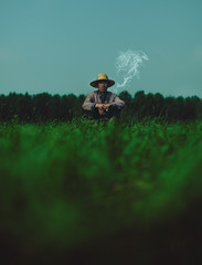 Good Earth (Jeremy Snell) Tags: china green good earth cigarette smoke chinese farmer zhang bei villager zhangbei