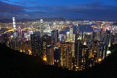 The Most Beautiful NIGHT View in the World! (AJ Brustein) Tags: ocean china city blue windows light sea urban hk man tower nature up skyline night clouds skyscraper canon buildings aj hongkong evening bay asia cityscape view apartment mark iii chinese machine peak bank victoria tourist condo stop hour worlds manmade 5d metropolis greatest sight lit thepeak kowloon viewpoint icc ifc causeway tallest brustein beautfiul 5dm3