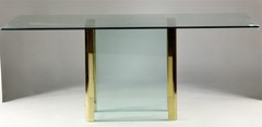 2043. Pace Glass and Brass Dining Table