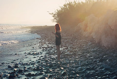 (Marta Nrgaard) Tags: sea summer portrait love beach water girl fashion rock vintage landscape clothing spain model sand hipster style redhead indie redhair canoneos1100d