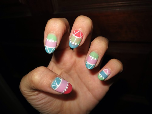 Singapore Lifestyle Blog, Beauty blog, nail blog, nail art, nailart, creative nails, nail art in singapore, millys, millys nails, beauty, Singapore blog, manicures, Gelish nails, Aztec nails, Tribal nails, easter eggs nails