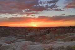 Badlands Sunset (Matt Champlin) Tags: life travel camping sunset summer vacation people holiday love nature southdakota canon amazing colorful alone quiet peace hiking painted watching calming husband roadtrip calm wife badlands nationalparks incredible tranquil vastness badlandsnationalpark 2012 contemplation summerholiday