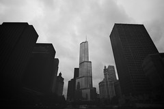 Trump Tower (vonderauvisuals) Tags: bridge urban lake chicago color vertical skyline architecture clouds canon vintage buildings river dark lens town downtown mood gloomy angle cloudy foreboding famous wide perspective overcast down panoramic donald youre line tokina 7d processing environment brooding tall visuals process grading hue tone sy fired correction chicagoist vonderau 1116mm vsco