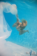 Woman white veil underwater (Netfalls) Tags: blue light shadow woman detail reflection water pool girl sport closeup contrast swimming fun happy cool underwater child veil action under dive young lifestyle drop health bubble strong rest diver recreation activity active buble