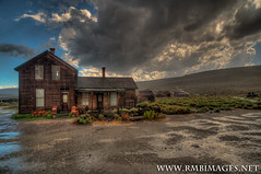 Pouring in Bodie (Bob Bowman Photography) Tags: california wood windows house water rain hail clouds nikon brush hills bodie splash puddles pouring tundra shacks woodpile thunderstorms bodiesta