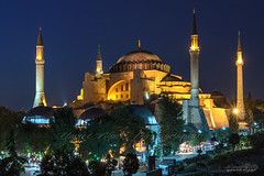 Hagia Sophia and minarets (Yavuz Alper) Tags: longexposure architecture lowlight nikon mosque 1750 historical ottoman mavi sinan hagiasophia mimari ayasofya byzantian minareler türbeler d7000 mavisaat