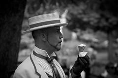 Anachronique (Sylv Photos) Tags: life street bw white black paris square photography photo costume still noir noiretblanc jardin scene nb chapeau 1900 luxembourg rue parc blanc odeon homme vie glace bal danseur epoque anachronique sylvaincourant