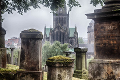 Glasgow necropolis and cathedral (Catherine Sharman) Tags: hdr scotland britain travel death victorian mono gothic necropolis europe graveyard glasgow