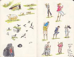 Page 29 (tanaudel) Tags: sketchbook sketching moleskine drawing illustration travel traveljournal birds puffins iceland vik stilts folkmuseum children lightgreyartresidency lightgreyartlab