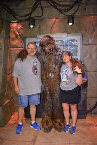 "Tracey and Scott with Chewbacca • <a style=""font-size:0.8em;"" href=""http://www.flickr.com/photos/28558260@N04/28610845193/"" target=""_blank"">View on Flickr</a>"