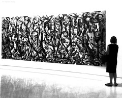 Mural in B&W, Museo Picasso, Mlaga (MJ Reilly) Tags: museopicassomlaga picasso malaga andalucia espana spain painting art pollock jacksonpollock bw blackandwhite nb noiretblanc gallery apple iphone