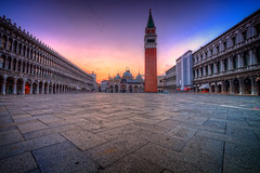 St Mark's Square at Sunrise (BlindThirdEye) Tags: piazzasanmarco sanmarco venice sunrise longexposure lowlight wideangle travelphotography citylife streetphotography architecture torre tower cathedral stbasilica
