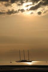 Three-Mast Yacht, Troon, off Barassie Beach #3 (moonfan23) Tags: yacht 3mast troon ayrshire scotland sailing sunset reflection seascape