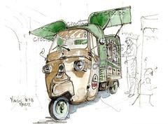 Marciac, Août 2016, le Vespresso (Croctoo) Tags: croquis croctoofr aquarelle watercolor croctoo marciac vespresso vespa piaggio triporteur