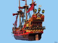 Pirate ship : La Saignante (Kloou.) Tags: saignante lego pirate pirates kloou artist legoartist toys toy photo brick alsace france arttoy art afol photography legoart minifigures legographie moc caraibes bateau ship boat skull sails gun cannon navy piratesenderoute lasaignante