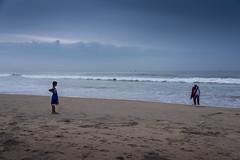 When the Child in you comes out! (Vilvesh) Tags: marinabeach marina seashore sea people nikond750 nikon24120 chennai beach monochrome 2ndlongestbeach sky skybluesky clouds