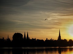 fading summer (paddy_bb) Tags: paddybb 2016 wasser deutschland germany water sky cityscape pattern cloud reflection lbeck silhouette hansestadt sonnenuntergang sunset sun schleswigholstein olympusomd wakenitz