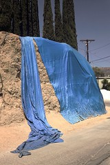 Blue tarp hillside (ADMurr) Tags: la hollywood hills blue tarp drapery leica m digital