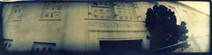 Boys Gymnasium bichrome (efo) Tags: california bw berkeley highschool cyanotype gumbichromate alternativeprocess homemadecamera altprocess gumovercyanotype mysteriouscamera swinglenspanoramic efo:site=2