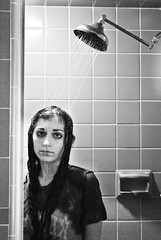 229/365 (a.n.decker photography) Tags: lighting light shadow portrait bw white black water hair tile shower grey droplets drops eyes nikon gray curls drip curly tiedye tee shadowing d60 nikond60 andecker