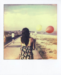 Balloons On the Beachside (josh_martin) Tags: vacation beach docks vintage project balloons polaroid photography seaside martin retro josh instant weymouth slr680 680 gril impossible impossibleproject px680