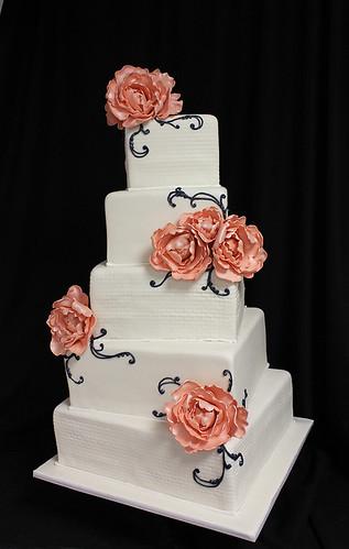 Square Sugar Peony Spiral Wedding Cake