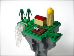 Farm in the sky (Gabe Umland) Tags: house tree fall water rock lego farm floating mini silo micro