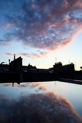 Playing with the sky (Julien Prénat) Tags: pink blue roof red sky orange paris rose canon rouge roofs bleu ciel nuage nuages toit 28mmf18 velux toits 5dmarkii
